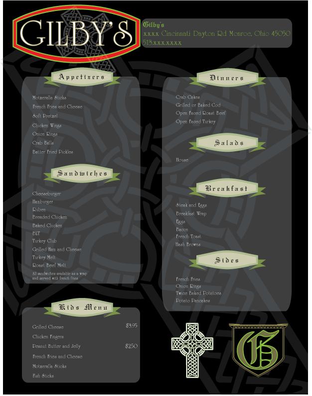 gilbys-menu